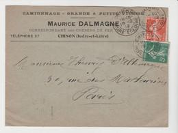 INDRE & LOIRE: DALMAGNE, Camionnage à Chinon / LSC De 1912 Pour Paris - 1877-1920: Periodo Semi Moderno