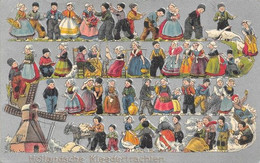 PAYS-BAS. HOLLANDSCHE Kleedertrachten Costumes. Superbe Animation. Carte Gaufrée, 2 Scans, En Très Bon état. - Ohne Zuordnung