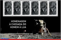 Ref. BR-V2019-13-B BRAZIL 2019 SPACE EXPLORATION, TRIBUTE TO LUNAR LANDING, MISSION, MOON, APOLLO 11, STRIP MNH 6V - USA