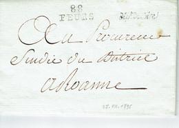 Feurs 88 Loire Lettre Pour Roanne Du 27-7-1795 Griff Dept De La Loire - 1701-1800: Vorläufer XVIII