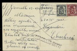 CP Fantaisie Obl.  Flamme  (1949)  + Griffe De COURCELLES - MOTTE - Linear Postmarks