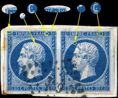 France - Paire Yv.14A 20c Bleu T.1 - Position 28-29G1 (2è état) - Obl. PC 389 (Béziers) TB Sur Fragment (ref.&02g) - 1853-1860 Napoleon III