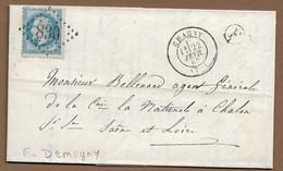 """CHAGNY : 1869 : GC 693  + Boite Rurale F  """" Demigny""""  Sur Lettre Avec Cachet à Date Type 17   ( Saône Et Loire ) : - 1849-1876: Periodo Clásico"""