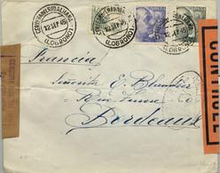 1945 , LA RIOJA , CERVERA DEL RIO ALHAMA / LOGROÑO - BORDEAUX , CENSURA DE SAN SEBASTIAN Y FRANCESA - 1931-50 Briefe U. Dokumente
