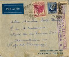 1936 , BARCELONA , CORREO AÉREO , SOBRE CIRCULADO A ASUNCIÓN ( PARAGUAY ) , CENSURA , LLEGADA , CONSULADO COSTA RICA - 1931-50 Covers