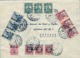 1937 , SEVILLA , HUÉVAR , BONITO SOBRE  FRANQUEADO CON EMISIONES LOCALES PATRIÓTICAS. - Brieven En Documenten