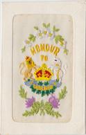 CARTE BRODEE MILITARIA Soldats Anglais Honour To England - Ricamate