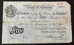 B241f MANCHESTER 24 Jan 1938 Peppiatt 5 Pound Note - 5 Pounds