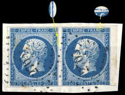 France - Paire Yv.14A 20c Bleu T.1 - Position 79-80D4 (BdF) - Obl. PC 2705 (La Rochfoucauld) Sur Fragment (ref.&02i) - 1853-1860 Napoleon III