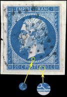 France - Yv.14A 20c Bleu T.1 - Position 19D5 - Oblitéré Superbe Sur Fragment (ref.&02j) - 1853-1860 Napoleon III