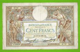 100 FRANCS / BANQUE DE FRANCE / OLIVIER MERSON / 31-12-1936 GC - 100 F 1908-1939 ''Luc Olivier Merson''