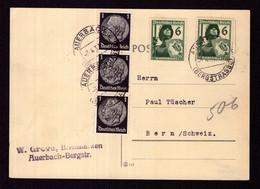 DR Auslands-Postkarte AUERBACH (BERGSTRASSE) - Bern SCHWEIZ - 7.4.37 - Mi.512,644 - Storia Postale