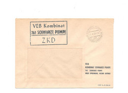"""ZKD Kastenstempel Auf Firmenumschlag VEB Kombinat Schwarze Pumpe Stempel """"GROSSBAUVORHABEN"""" 1966 - Dienstpost"""