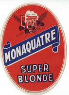 Ancienne étiquette Brasserie Monaquatre à Evin-Malmaison 62 - Bière