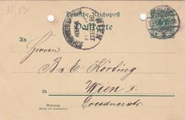 REICHSPOST 1901 - 5 Pfg Ganzsache Auf Pk Gel.v. Görlitz > Wien - Brieven En Documenten