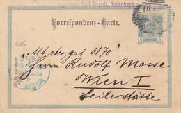 ÖSTERREICH 1901 - 5 Heller Ganzsache Auf Pk Gel.v. Bodenbach > Wien - Brieven En Documenten