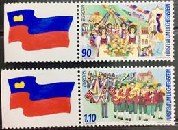 LIECHTENSTEIN 1998 MNH STAMP ON EUROPA,   NATIONAL FESTIVAL WITH FLAG IMAGE  TAB  2 DIFFERENT STAMPS - Ungebraucht