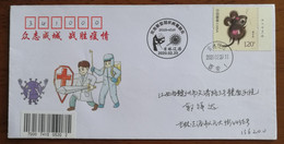 Syringe & Virus,China 2020 Liaoyuan Fighting COVID-19 Pandemic Novel Coronavirus Pneumonia Propaganda PMK Used On Cover - Krankheiten