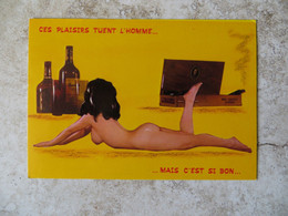 CPM Humour Pin Up Nue Série 556/32 Ces Plaisirs Tuent L' Homme ...mais C'est Si Bon ( Cigare Alcool...) Ed Lyna Non Voya - Humour