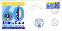 Nouvelle Caledonie Caledonia Timbre Personnalise Prive Cachet Commemoratif Lions Club Noumea Doyen Normal 2021 Signe - Lettres & Documents