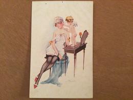 Illustrateur Suzanne Meunier, Le Fard Rose, Femme Et Ange Cupidon - Meunier, S.