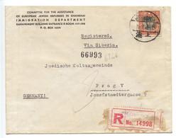 Jewish Refugees In Shanghai, 1941, Censored Registered Service Cover To Prague - RARE !!! - Vluchtelingen