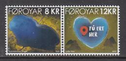 2020 Faroe Islands Heart Shaped Lake Geology Complete Pair MNH @ BELOW FACE VALUE - Faroe Islands