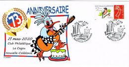 Nouvelle Caledonie Caledonia Timbre Personnalise Cachet Commemoratif 73 Ann Club Cagou Guitare Coucou Pins Noumea 2020 - Lettres & Documents