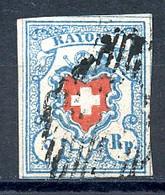 Switzerland, 1851, 5 Rp. Heraldry, Schweizer Wappen Mit Posthorn, Rayon I, Used, Michel 9 Type II - 1843-1852 Federal & Cantonal Stamps