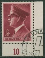 Deutsches Reich 1942 Hitler Waag. Gummiriffelung 813 Y Ecke 4 Gestempelt - Gebruikt