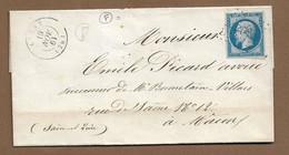 """LUGNY  : 1861 : PC 1796  + Cachet à Date  Type 15 + Boite Rurale """" F """" :  ( Saône Et Loire ) : - 1849-1876: Periodo Clásico"""