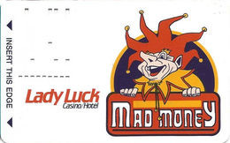 Lady Luck Casino Las Vegas, NV - 1st Issue Slot Card - Dark Purple Background Around Jester   ...[RSC]... - Casino Cards