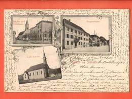 ZOT-29 Gruss Aus Sissach Multiviews Hauuptstrasse Kirche Schulhaus Gelaufen Sissach 1903 Pionier - BL Basle-Country