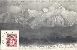 """AK  """"Le Mont Blanc (4810 M)""""  (Bahnstempel)        1904 - Covers & Documents"""