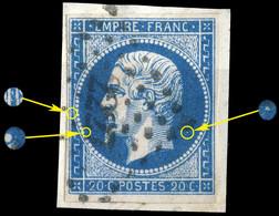 France - Yv.14A 20c Bleu T.1 - Position 96D1 - Oblitéré PC 2227 (Narbonne) TB Sur Fragment (ref.&02l) - 1853-1860 Napoleon III