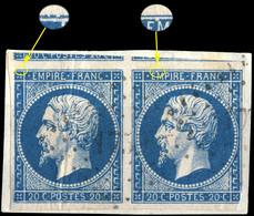 France - Paire Yv.14A 20c Bleu T.1 - Position 51-52D2 Oblitéré PC 1753 (Longjumeau) B (défauts Sur Fragment) (ref.&02m) - 1853-1860 Napoleon III