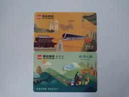 China Transport Cards,Terracotta Warriors, Train, Great Wall, Xi'an City, (2pcs) - Zonder Classificatie