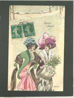 Xavier Sager 2 Femmes Aux Beaux Chapeaux Sous La Neige , Manchon En Hermine ,  Illustrée - Sager, Xavier