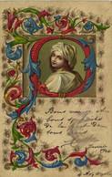 M.M.VIENNE  N°151 Carte Gaufrée Portrait Jeune Femme + Enluminures Pionnière RV - Donne