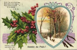 Carte Gaufrée Paysage Dans Un Coeur + Houx Année De Paix ! RV - Other