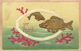 Carte Gaufrée 1er Avril Poissons Coraux RV - 1 April (aprilvis)