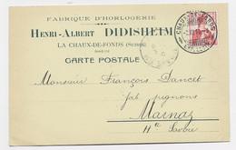 LA CHAUX DE FONDS CARTE PRIVEE FABRIQUE HORLOGERIE HENRI ALBERT DIDISHEIM 1910 - JU Jura