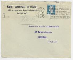PASTEUR 75C ROULETTE SEUL LETTRE PARIS 47 9.1.1925 POUR SUISSE AU TARIF RARE - 1922-26 Pasteur