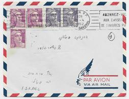 GANDON 5FRX2+10FR VIOLETX3 LETTRE COVER AVION AGEN RP 21.4.1952 POUR ISRAEL AU TARIF - 1945-54 Marianne (Gandon)