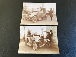 2 X Photo - 1912 - St Georges (Hopital BOURG EN BRESSE) Remake «Bande à Bonnot» Traction VERKOPEL (?) - Auto's