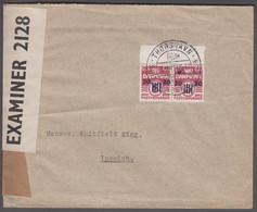 1941. Provisional Issue.  Pair 20 Øre On 5 Øre Wine Red. THORSHAVN SPIS FÆRØSK KLIPFI... (Michel 3) - JF421043 - Faroe Islands