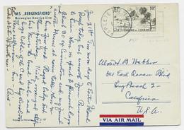 OCEANIE 10FR SEUL CARTE AVION PAQUEBOT NORGE NORWAY PAPEETE ILE TAHITI 1.2.1950 POUR USA - Lettres & Documents