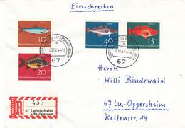 Allemagne - République Fédérale - Lettre Recom De 1964 - Oblit Ludwigshafen Am Rhein Oggersheim - Poissons - - Brieven En Documenten