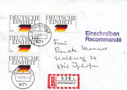 Allemagne - République Fédérale - Lettre Recom De 1990 - Oblit Kitzingen - Deutsche Einheit - Brieven En Documenten