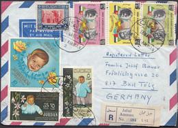 Jordan - Airmail Cover. 2nd Birthday Of Prince Abdullah Stamps Set Mi.  419-421 & 424 - 426. Jabal Amman 1964 - Germania - Giordania